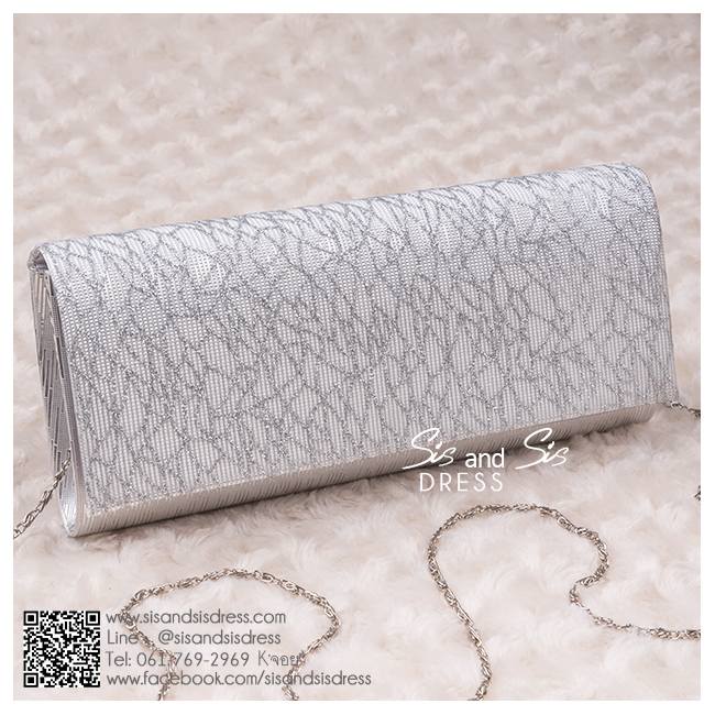 bs0008 กระเป๋าคลัช สีเงิน กระเป๋าออกงานพร้อมส่ง ราคาถูกกว่าเช่า แบบสวยๆ ดูดีเหมือนดาราใช้