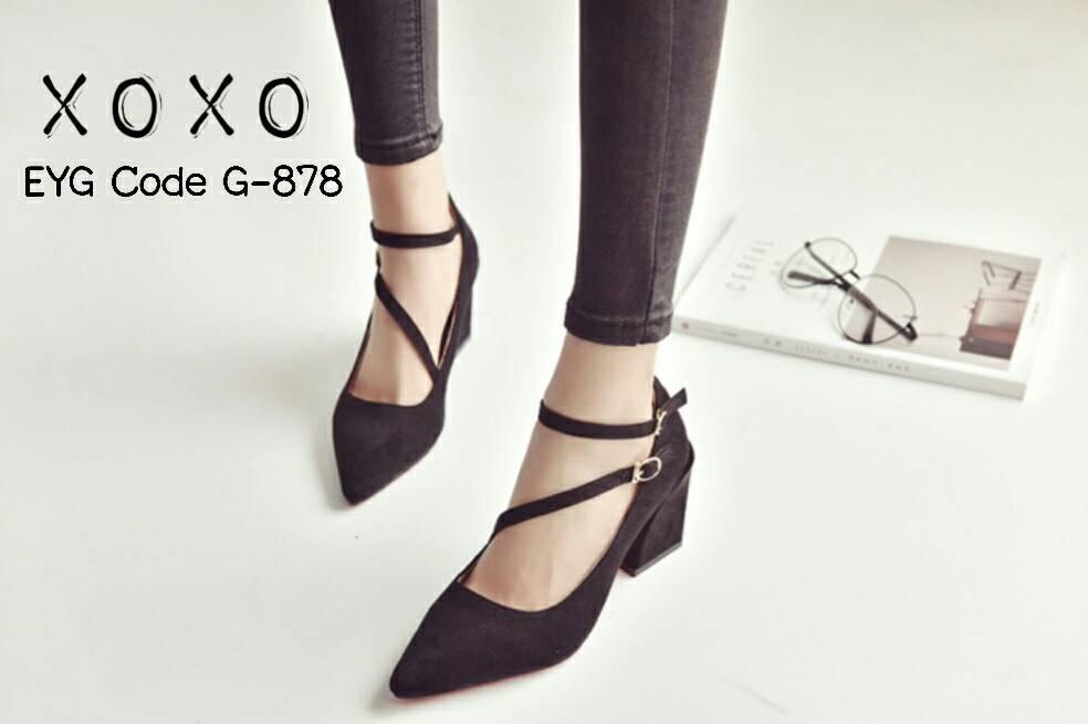 รองเท้าคัทชูส้นต้นแต่งสายรัด2ชั้น (สีดำ)