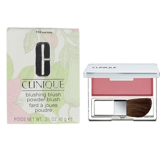 **พร้อมส่ง**Clinique Blushing Blush Powder Blush 6g. #114 Iced Lotus บรัชออนสูตร Silky Powder ให้เนื้อละเอียด สีสันสดใส ชัดเจน พร้อมแปรงปัดรูปทรงพิเศษ อ่อนนุ่มทำจากขนสัตว์ชั้นดี ออกแบบให้ใช้งานง่าย มีปลายเรียวซึ่งจะช่วยปัดตามแนวโค้งและเพิ่มมิติแก่วงแก้ ,