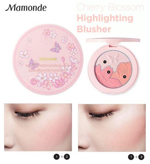 **พร้อมส่ง**Mamonde Cherry Blossom Highlighting Blusher คอลเล็กชั่นสุดละมุนจากแบรนด์เกาหลี กับบลัชออน 3in1 ตกแต่งความงามของดอกซากุระบนฝาตลับ มาพร้อมกระจก พิเศษสุดกับบลัชออนสีส้มนม และชมพู ที่มาพร้อมไฮไลท์ ให้ผิวสวยใสแบบเกาหลี แก้มผ่องระยิบดูเป็นธรรมชาติ ,