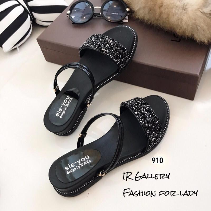 รองเท้าแตะริสตัลสไตล์แฟชั่นเกาหลี (สีดำ)
