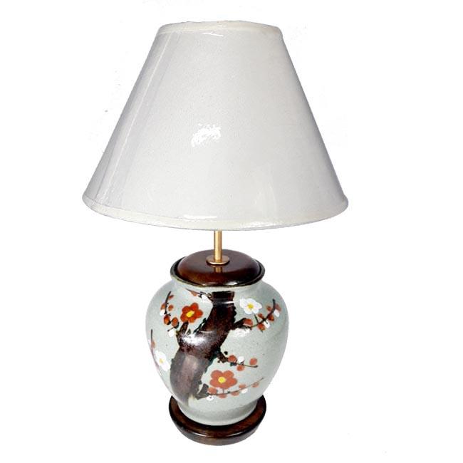 โคมไฟเซรามิก โคมไฟวินเทจ แบบตั้งโต๊ะ ลายดอกไม้