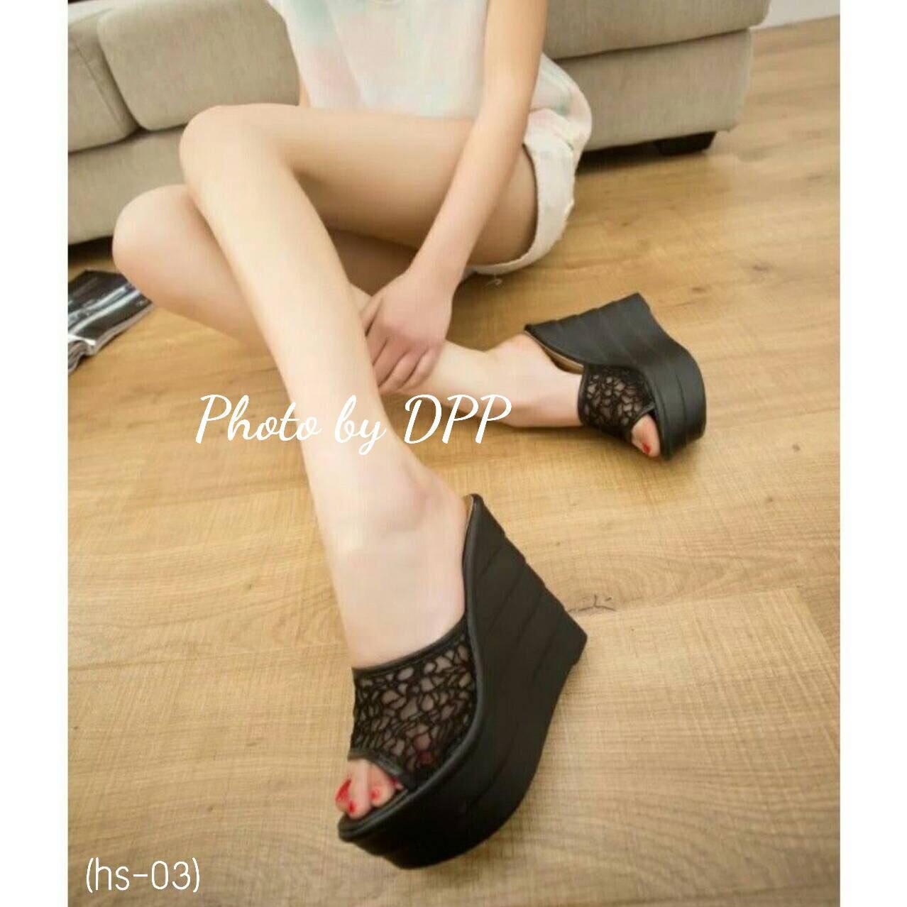 รองเท้า Platform สไตล์เกาหลี (สีดำ)