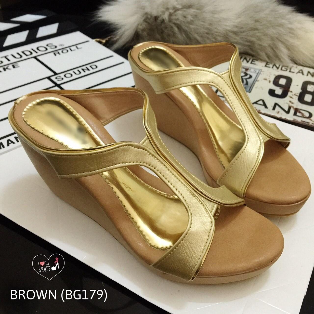 พร้อมส่ง : รองเท้าส้นเตารีด Golden Metalic Platform (สีน้ำตาล)