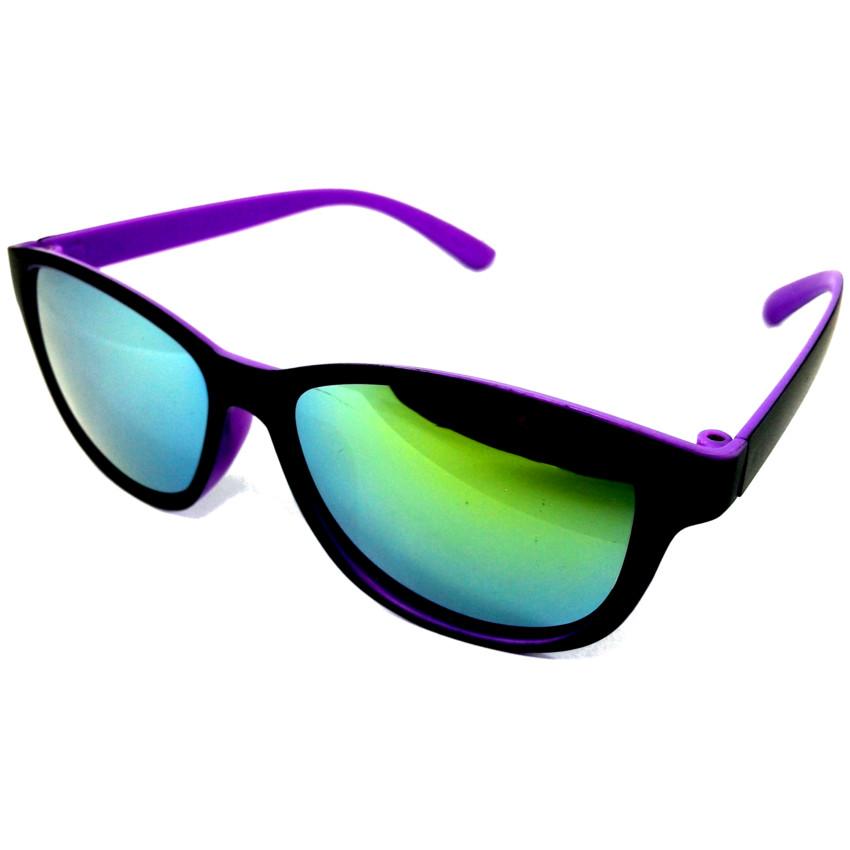 แว่นกันแดดแนวเรโทร สีม่วง เลนส์ปรอท