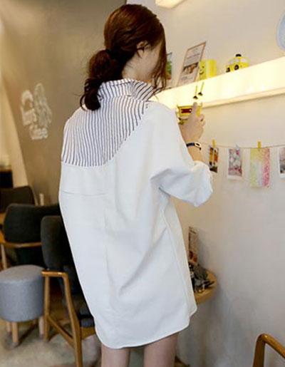 เสื้อเชื๊ตแฟชั่นกึ่งเดรส คอปกลายริ้วสวยเก๋สไตล์เกาหลี-1707