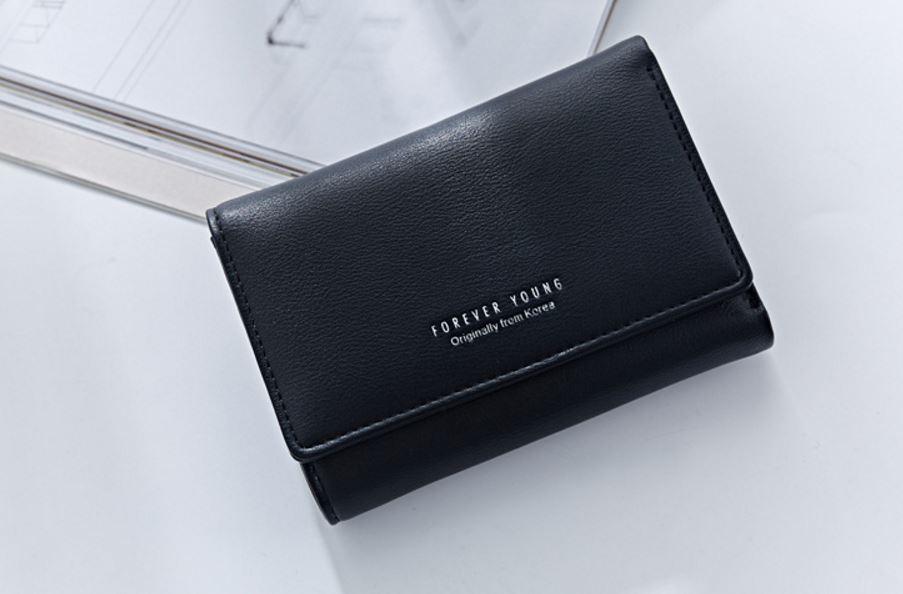 กระเป๋าสตางค์ผู้หญิงทรงสั้น Weichen Forever Young Black ดำ