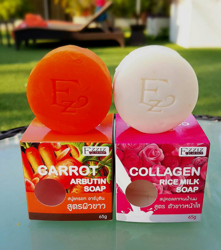 Ezziz Lab Skin Carrot Arbutin Soap and Collagen Rice Milk Soap สบู่คู่ขาว