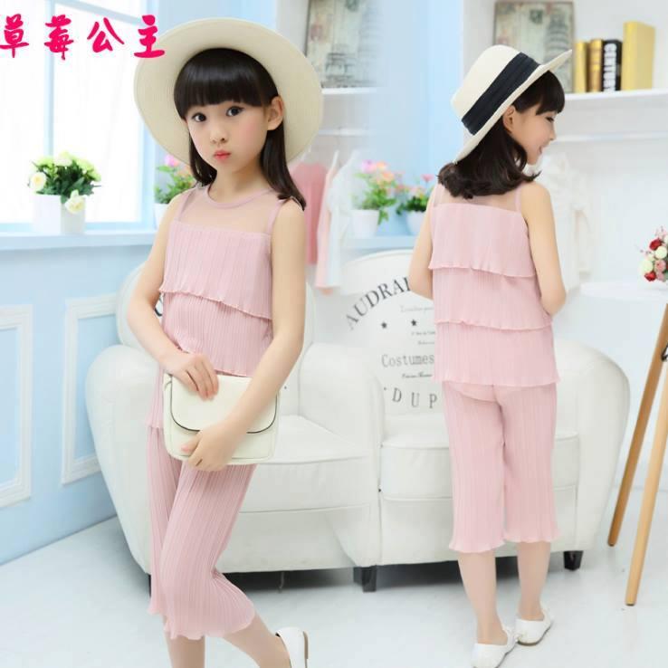 ชุดเสื้อ+กางเกงผ้าชีฟองพีช สีชมพู