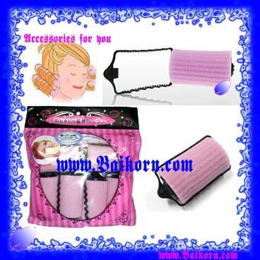 โรลม้วนผมแบบนุ่มและมีที่ล็อกในตัว ( Beauty Hair Curler ) สีชมพู แบบ 6 ชิ้น