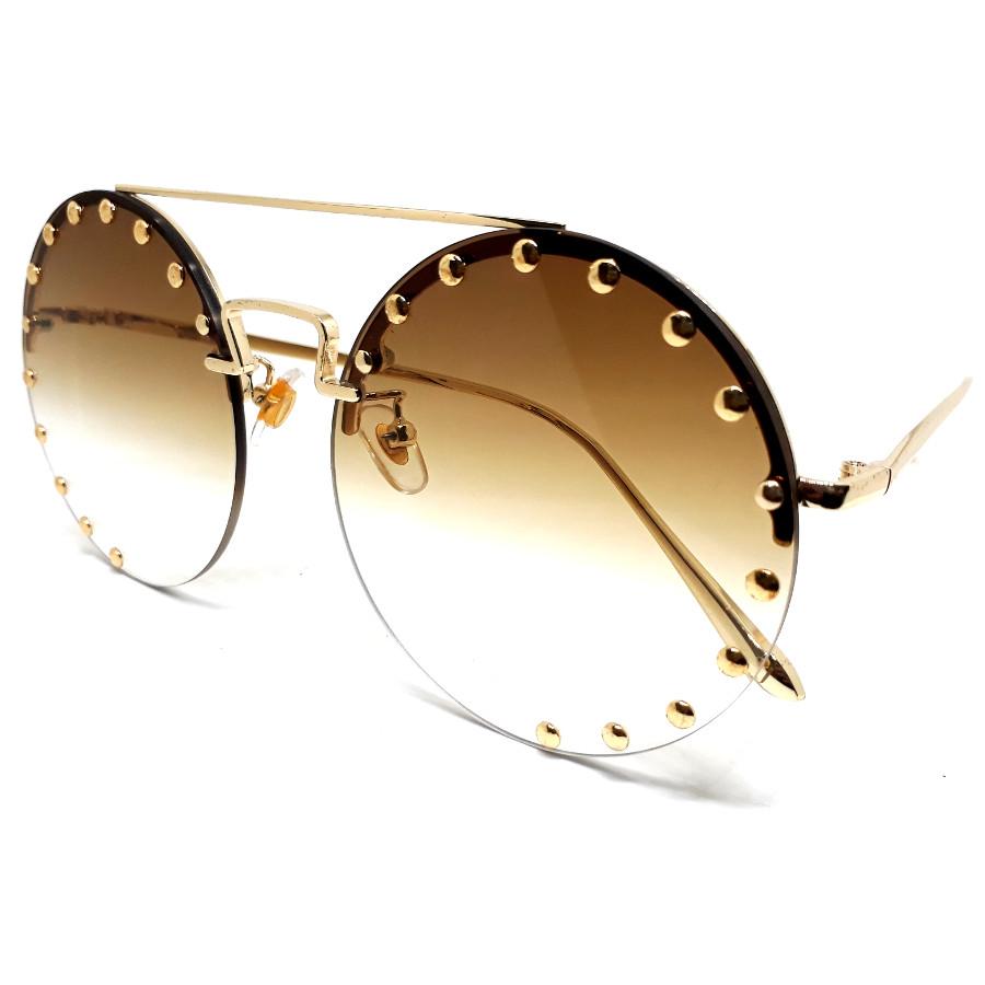 แว่นแฟชั่นทรงกลม ดีไซด์เก๋หรู งานพรีเมี่ยม กรอบสีทอง เลนส์น้ำตาล