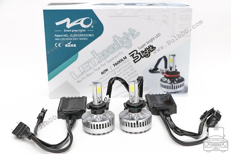 ไฟหน้า LED ขั้ว H7 รุ่น 3 COB Chip แสง 6000K