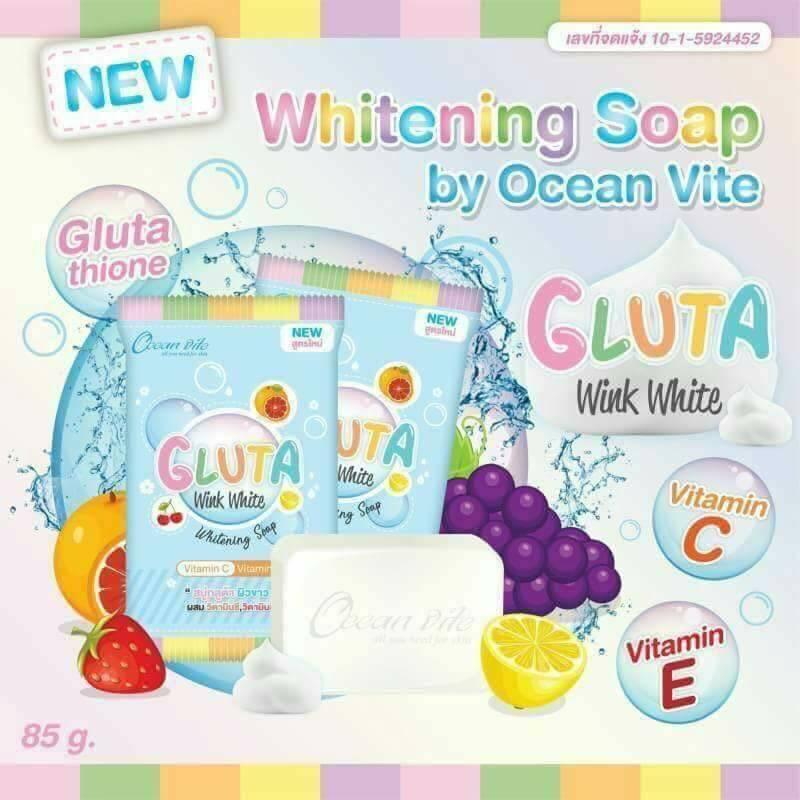 GLUTA Wink White Whitening Soap by Ocean vite สบู่กลูต้า วิ้งค์ไวท์ บาย โอเชียนไวท์ สบู่กลูต้า ผิวขาว ผสมวิตามิน C และ วิตามิน E