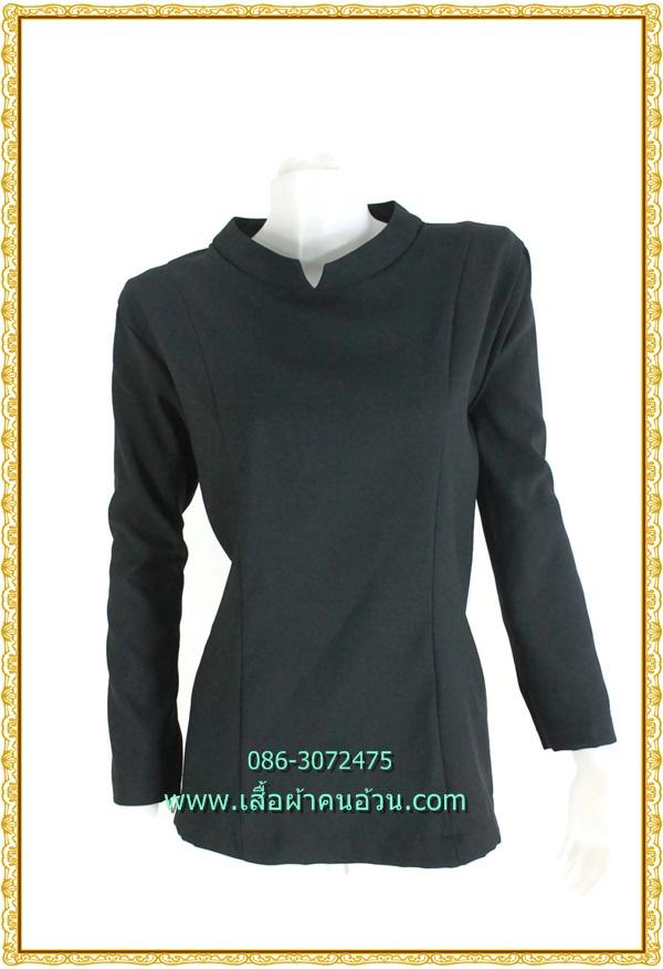 3232เสื้อคนอ้วนสีดำคอตั้งแบบเรียบแขนยาวสวมใส่คู่กระโปรงหรือกางเกงทรงสุภาพ
