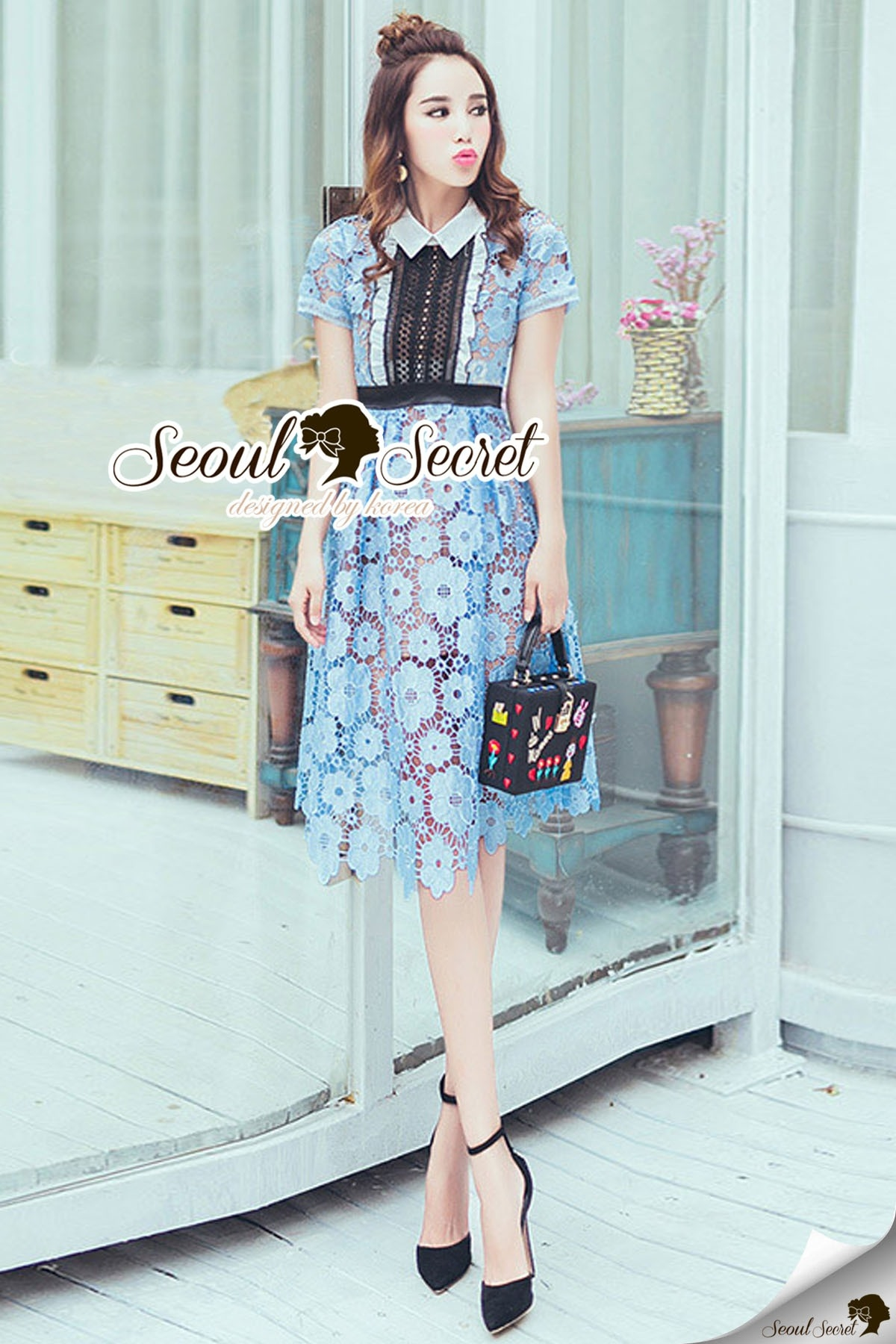 Seoul Secret Say's .... Baby Blue Flora Lace Flowering Dress
