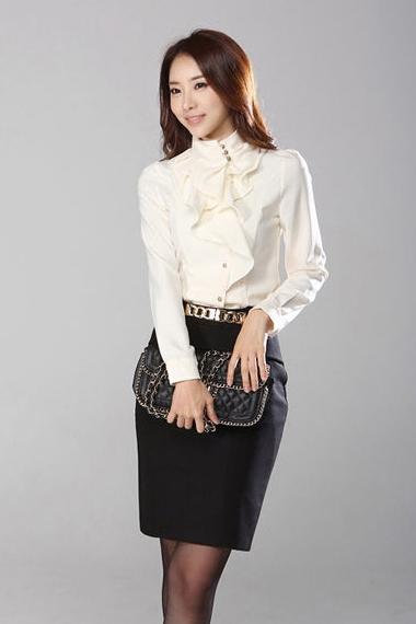 เสื้อทำงาน แขนยาว ผ้าชีฟอง ประดับริ้วผ้าด้านหน้า ดูดี เสื้อสีขาว