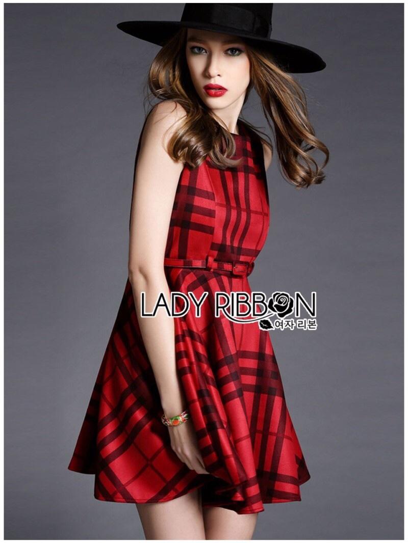 Lady Ribbon's Made Lady Cris British Elegant Check Printed Beige Dress สีแดง