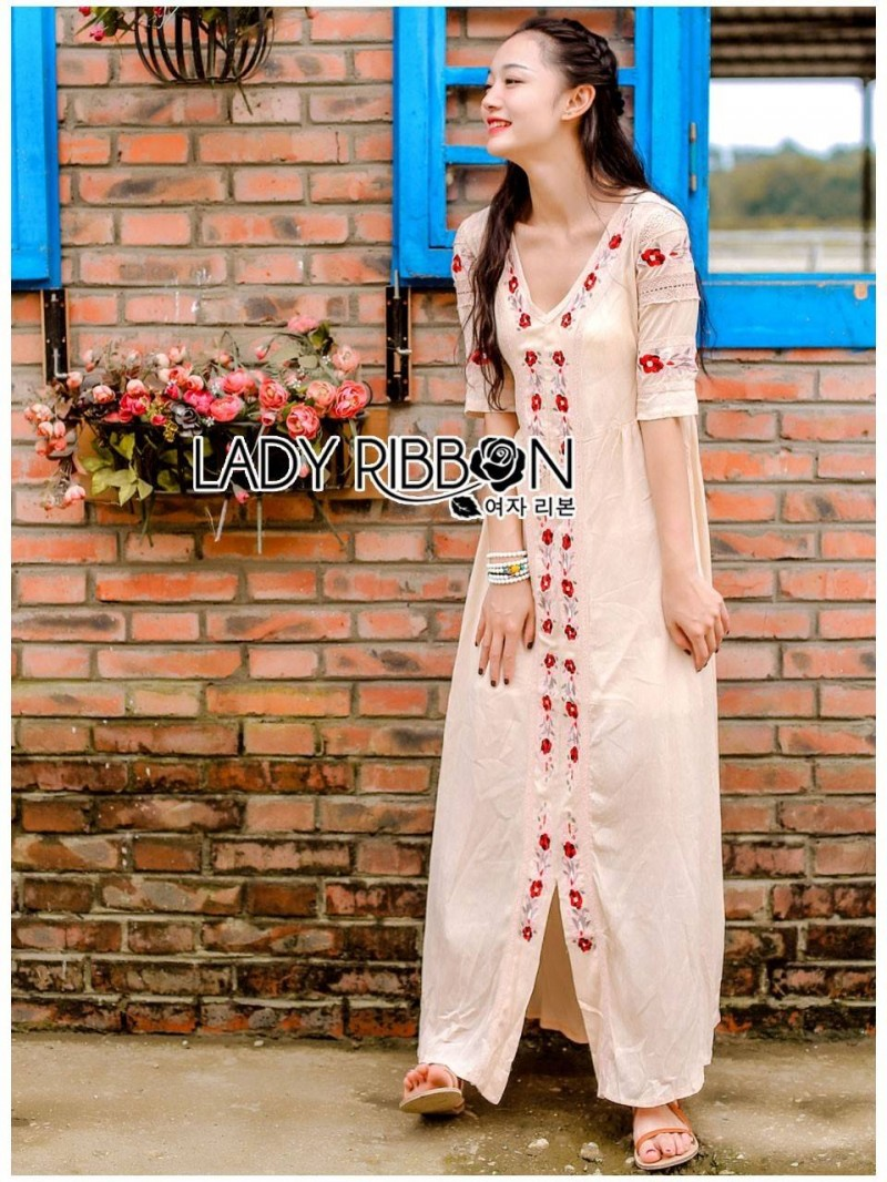 Lady Ribbon's Made Lady Spencer Casual Flower Embroidered Crochet Maxi Dress