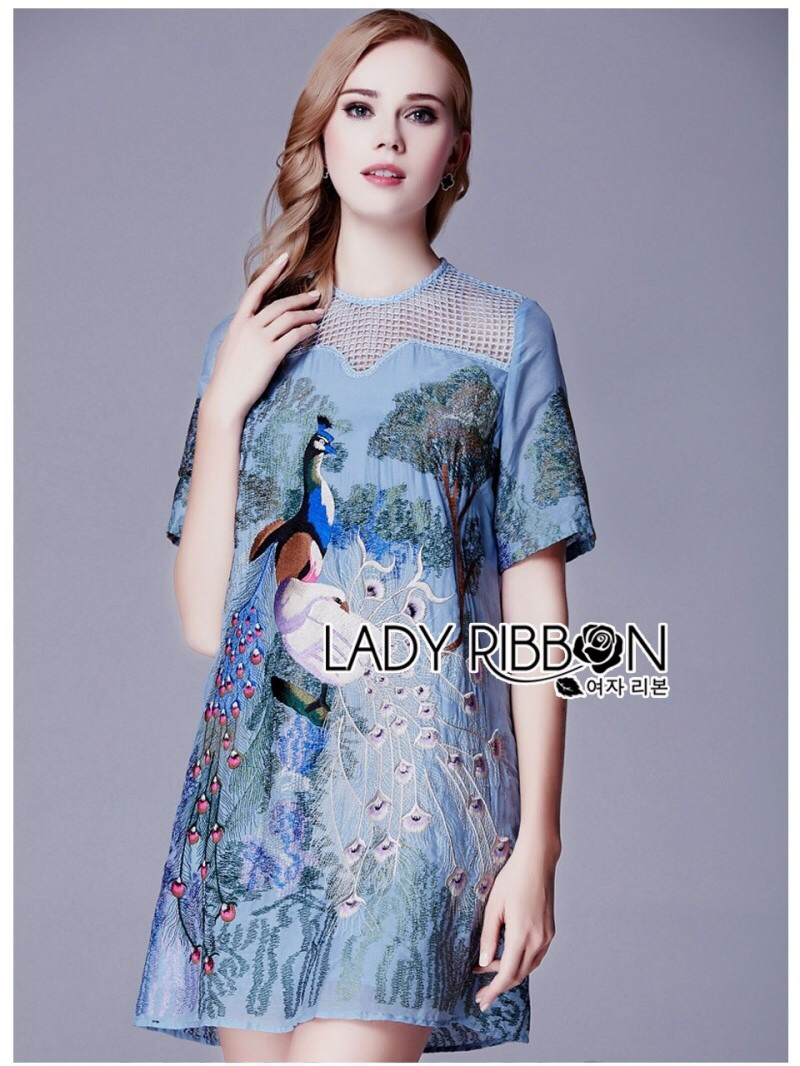 Lady Ribbon's Made Lady Alison Elegant Artful Peacock Embroidered Dress สีฟ่้า