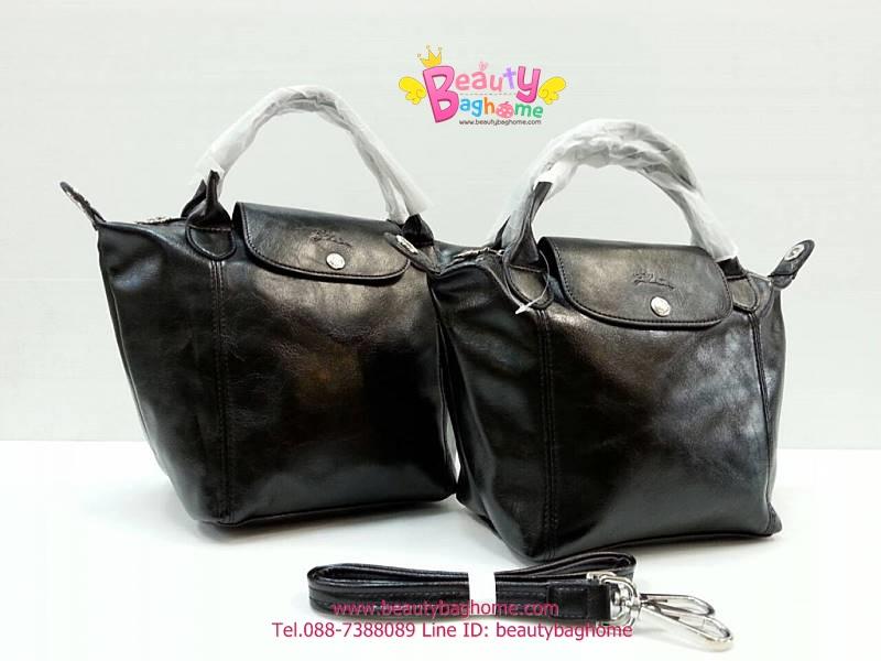 Longchamp Le Pliage Cuir สีดำ มีSize S,M,L