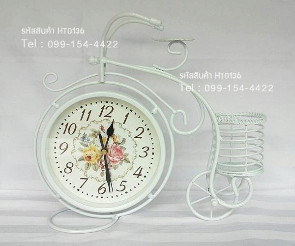 นาฬิกาวินเทจตั้งโต๊ะดีไซน์สวยเก๋ รูปจักรยานล้อสูง สีขาว - มีตะกร้าด้านหลัง