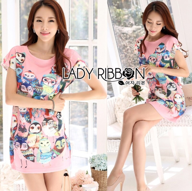 Lady Ribbon's Made Lady Hannah Playful Owl Printed Shift Dress in Pink