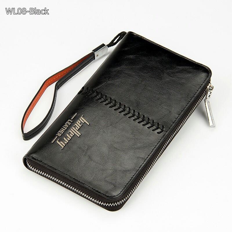 WL08-Black กระเป๋าสตางค์ใบยาว กระเป๋าสตางค์ผู้ชาย หนัง PU สีดำ