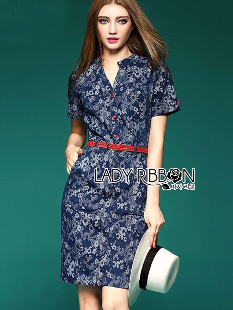 Lady Ribbon's Made Lady Kristen Floral Printed Denim Shirt Dress with Red Belt