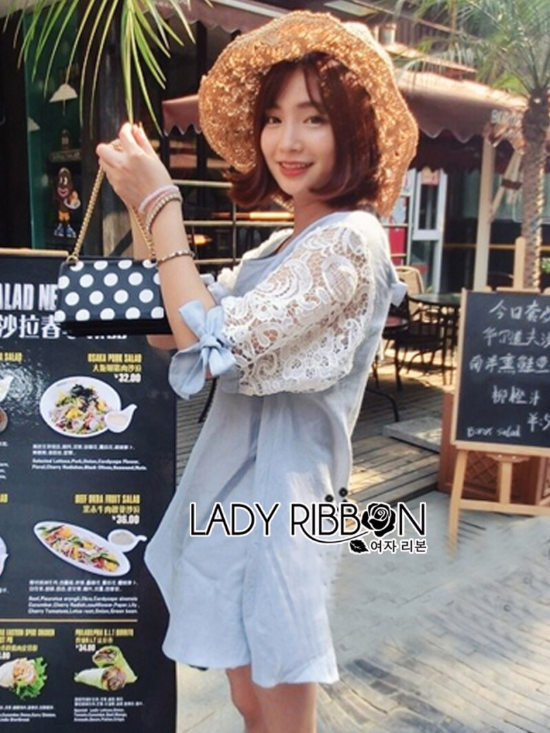 Lady Ribbon's Made Lady Lara Relaxed Lace-Sleeve Pastel Blue Mini Dress with Ribbon