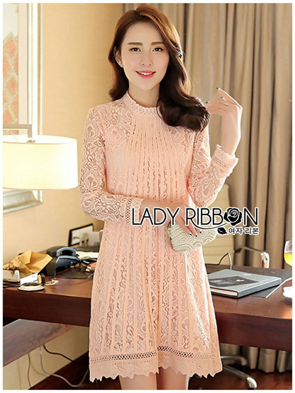 Lady Ribbon's Made Lady Nara Classic Striped High-Neck Lace Dress สีชมพู