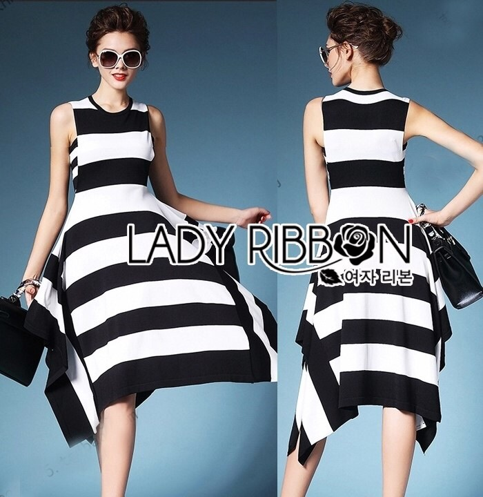 Lady Ribbon's Made Lady Clair Minimal Chic Bold Striped Asymmetric Dress
