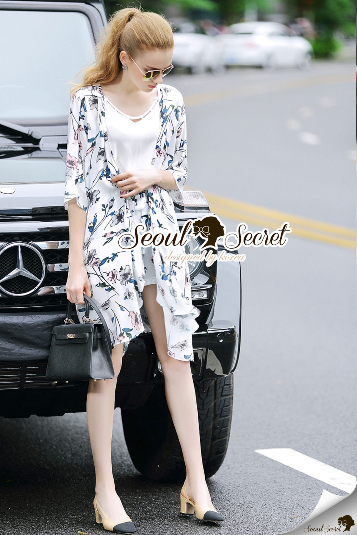 Seoul Secret Say's... Saphirely Blue Blosssom Print Chill Outer Chic Set