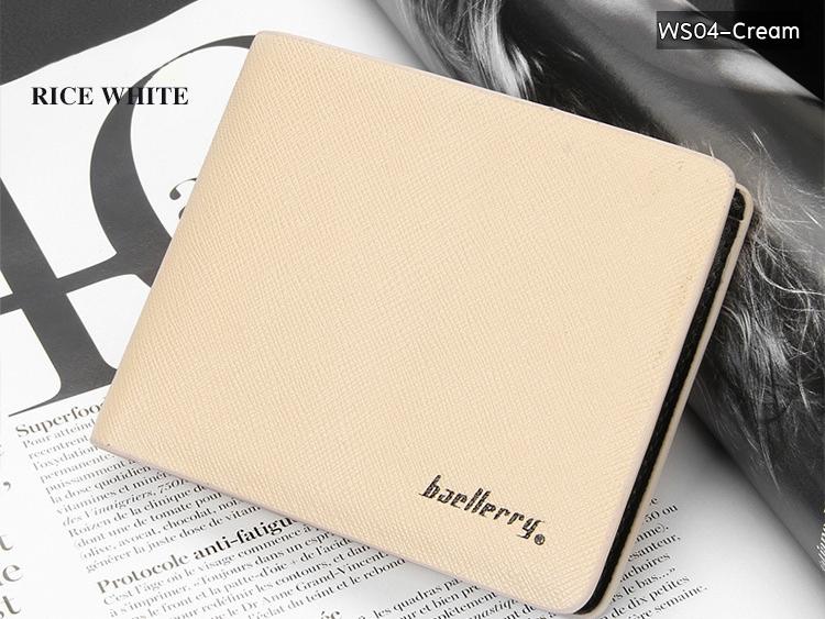 ( ลดล้างสต๊อค ) WS04-Cream กระเป๋าสตางค์ใบสั้น แนวนอน กระเป๋าสตางค์ผู้ชาย หนัง PU เกรดเอ สีครีม