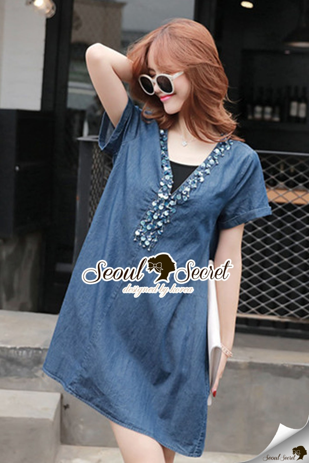 Seoul Secret Say's .... Sequinny V Furnish Denim Dress