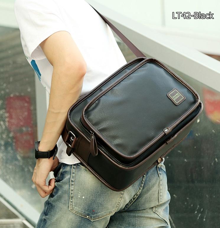 LT42-Black กระเป๋าสะพายข้าง หนัง PU สีดำ