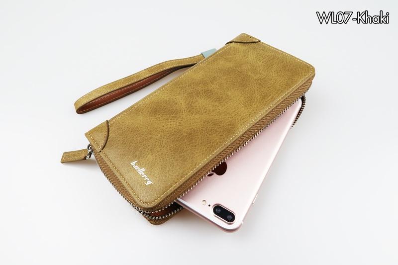 WL07-Khaki กระเป๋าสตางค์ใบยาว กระเป๋าสตางค์ผู้ชาย หนัง PU สีกากี