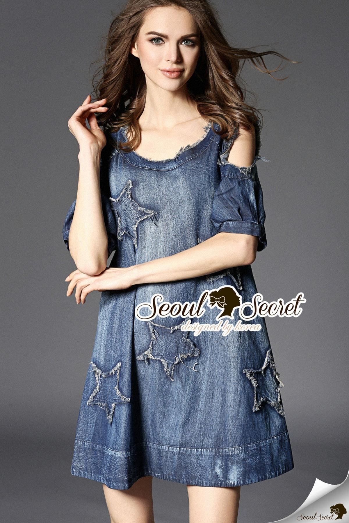 Seoul Secret Say's... Nifty Star Open Shoulder Denim Dress