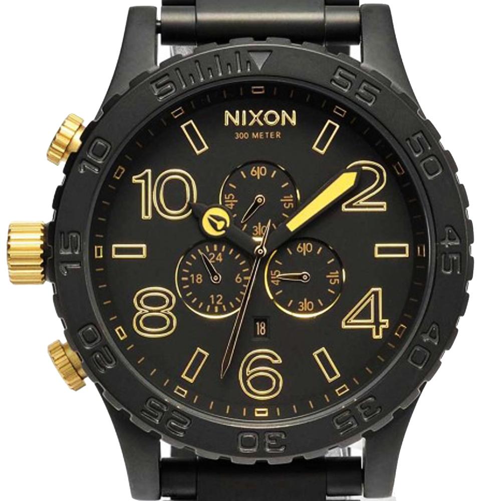 นาฬิกา NIXON Men Chronograph Chronograph Black Gold Dails Watch A0831041 48-20