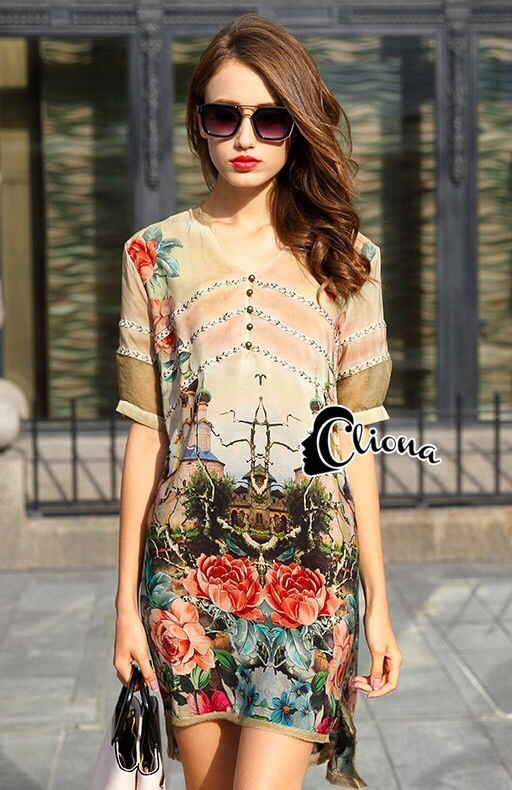 Cliona made' Roses Castle Hall Luxury Shirt Dress