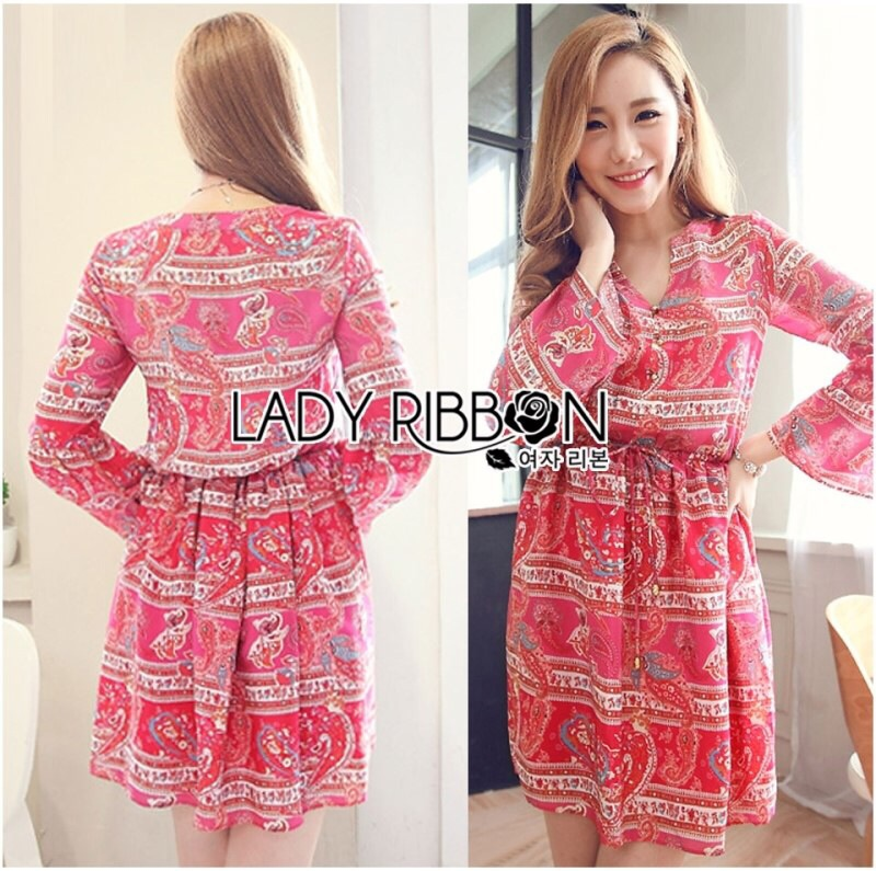 Lady Ribbon's Made Lady Jessie Tribal Chic Colorful Paisley Printed Dress