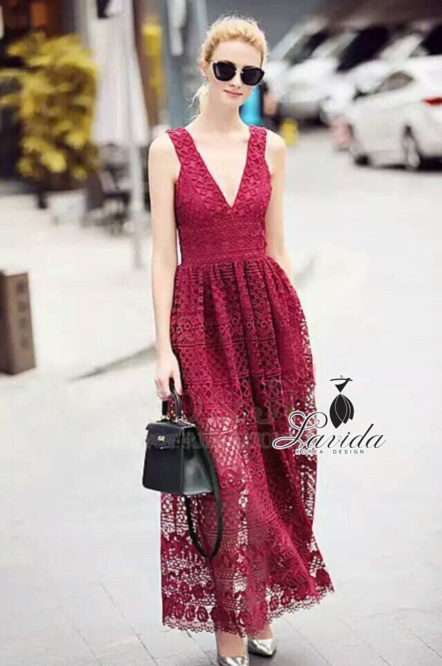 Korea Design By Lavida sexy v neck bodycon red lace maxi dress