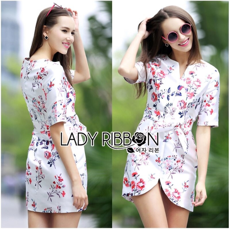Lady Ribbon's Made Lady Pam Feminine Chinese Blossom Printed Dress