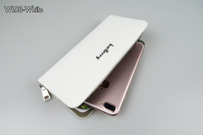 WL03-White กระเป๋าสตางค์ใบยาว กระเป๋าสตางค์ผู้ชาย หนัง PU สีขาว