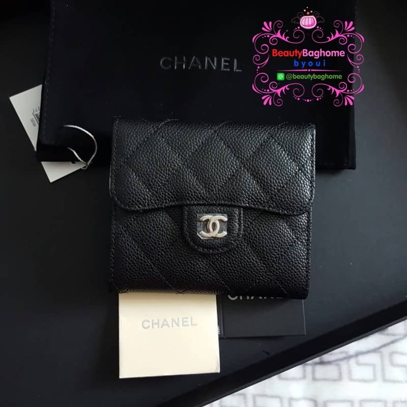 Chanel wallet สีดำ งานHiend Original งานเนี๊ยบสวยเป๊ะ หนังแท้ หนังCaviar งานดีสุด