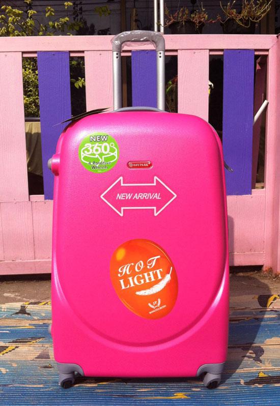 กระเป๋าเดินทางไฟเบอร์ 4 ล้อ ขนาด 24 นิ้ว สีชมพูบานเย็น