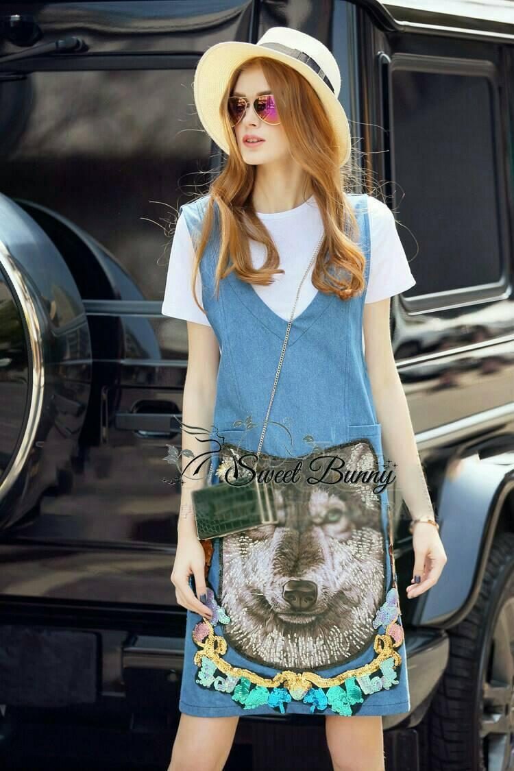 Sweet Bunny Present... Shine Embroidered Fox Dress Set