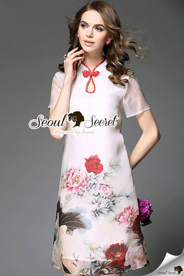 Seoul Secret Say's... Redly Rim Rosy Print Organdy Dress