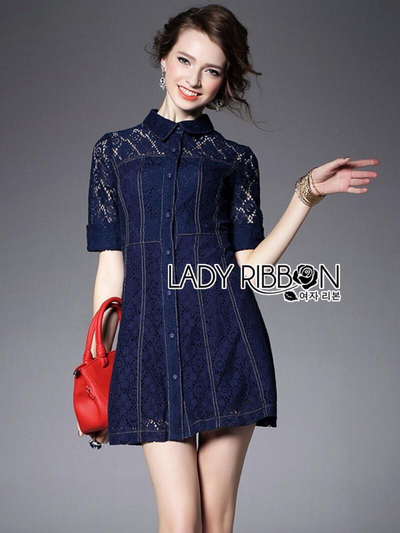 Lady Ribbon's Made Lady Jenette Smart Sexy Insert Lace Denim Shirt Dress