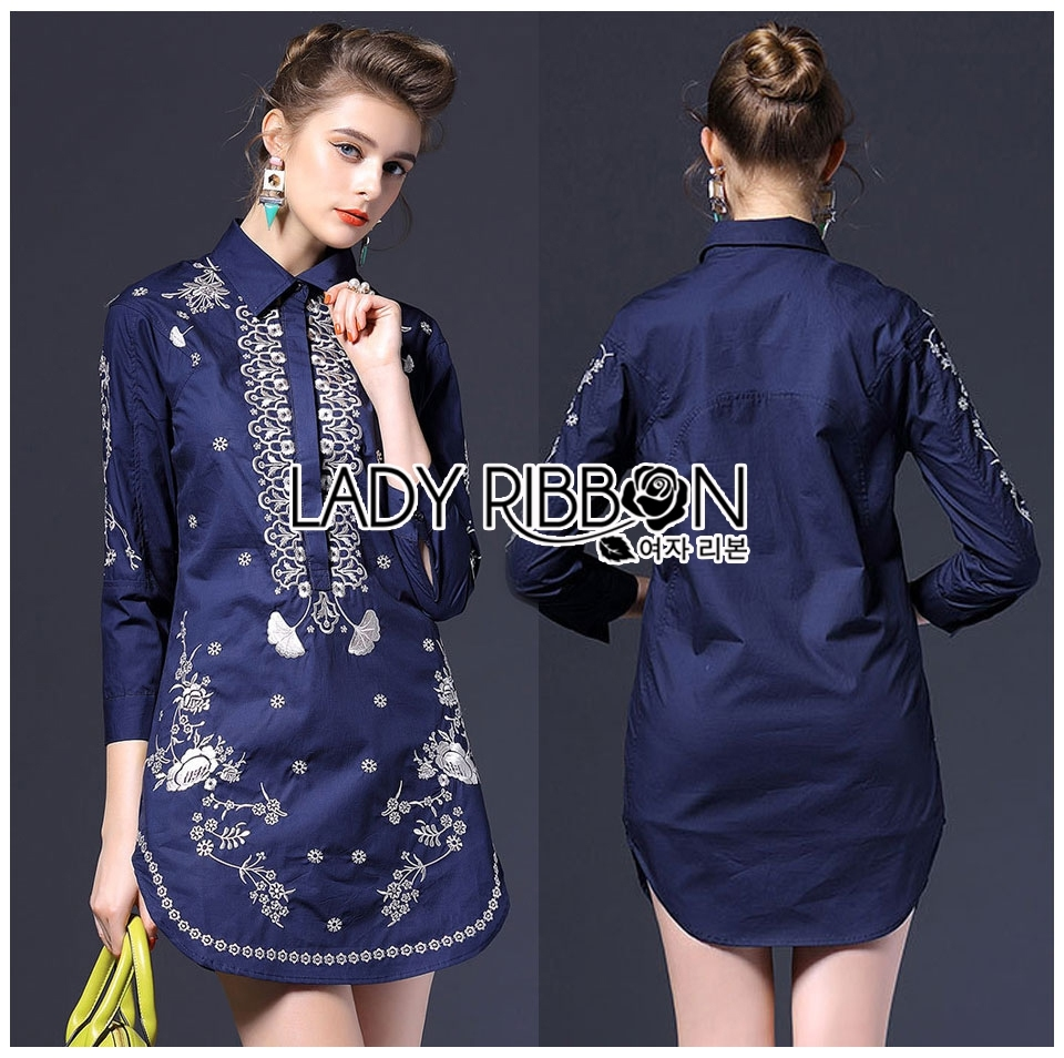 Lady Ribbon's Made Lady Annie Smart Casual Monochrome Embroidered Shirt Dress สีกรมท่า