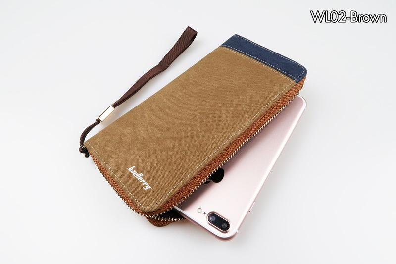 ( ลดล้างสต๊อค ) WL02-Brown กระเป๋าสตางค์ใบยาว กระเป๋าสตางค์ผู้ชาย ผ้าแคนวาส สีน้ำตาล